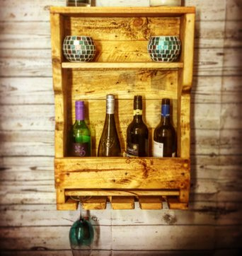 Rustic Wine Rack with Glass Holders