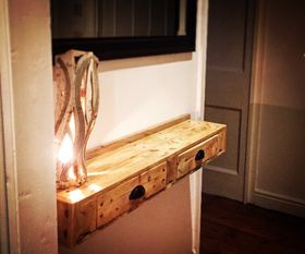 Rustic Wall Mounted Shelf with Drawers